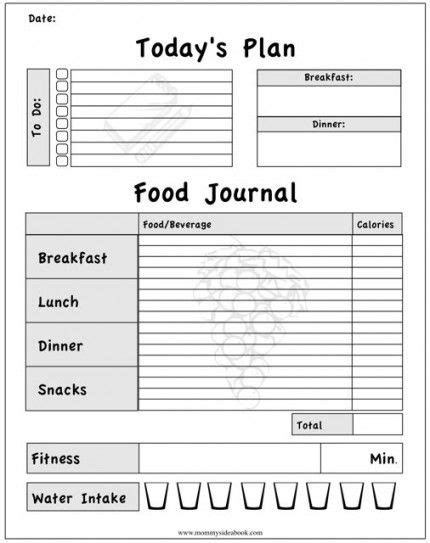 printable food journal printable workout journal for myself to track my