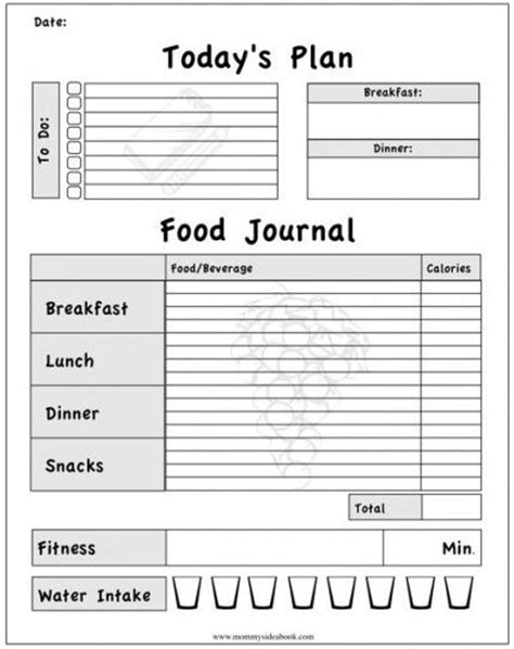 Food Exercise Journal Template printable workout journal for myself to track my