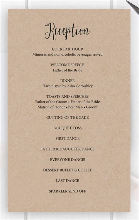 wedding reception program template pdf mini bridal