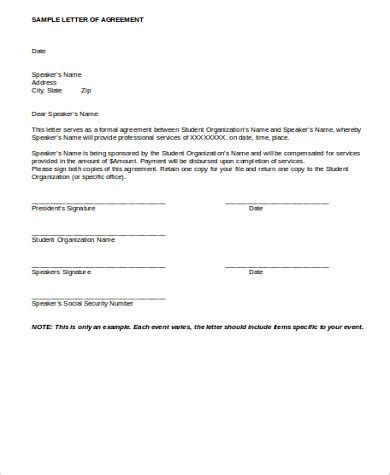 Letter Of Agreement Doc Sle Agreement Letter 8 Exles In Word Pdf