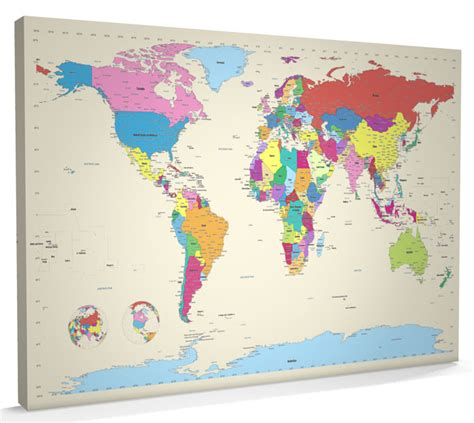 world map canvas map of the world map canvas a1 22x34 inch m383 ebay