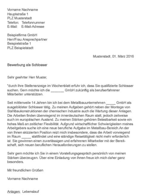 Bewerbung Anschreiben Vorlage Schlosser Muster Gt Bewerbung Als Schlosser