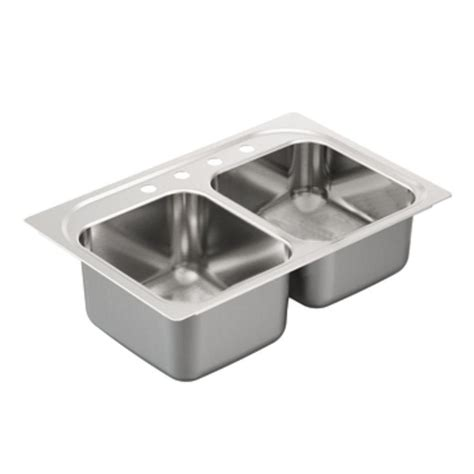 moen kitchen sink moen 2000 series drop in stainless steel 33 in 4 bowl kitchen sink g202334 the