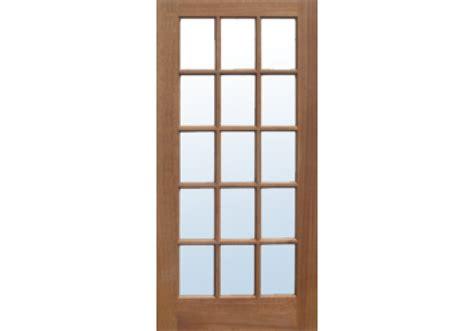 French 15 Lite Single Pane Clear Glass Philippine Mahogany Glass Paned Door