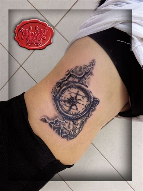 11 six tattoo compass map engraved circus parlour