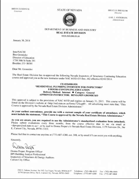 certification letter for business how to become a certified home inspector in nevada