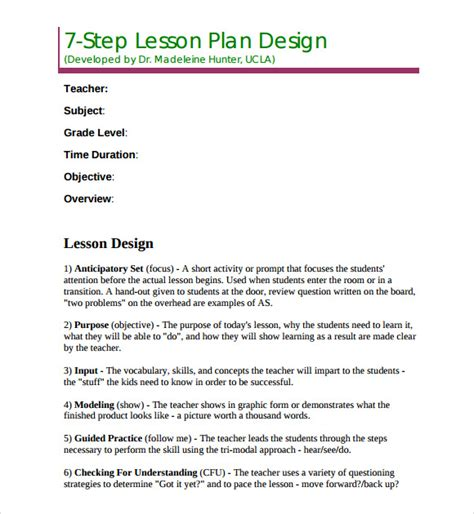 sle madeline hunter lesson plan template 7 free