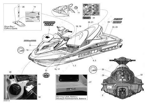 sea doo jet ski parts diagram sea doo 2009 gtx gtx 215 decals parts catalog