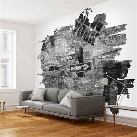 black and white wallpaper murals uk wallpaper black and white new york collage 3d
