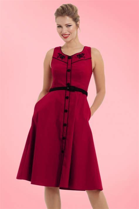 red swing dress vintage 50s marjorie roses swing dress in red