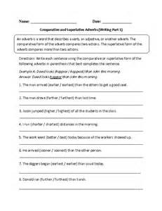 comparative and superlative adverbs worksheets worksheets