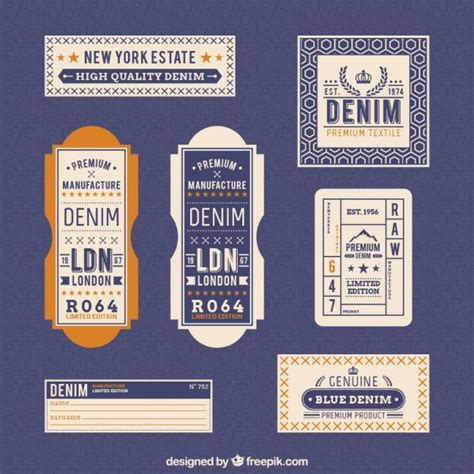 design label jeans denim labels in retro style vector free download