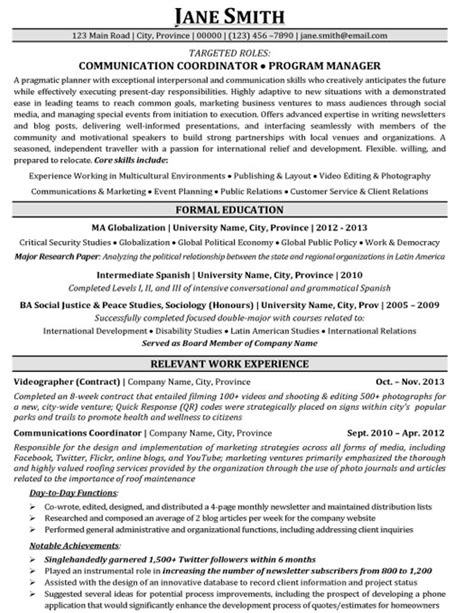 Resume Exles Communications Manager Communication Coordinator Program Manager Resume Template Premium Resume Sles Exle