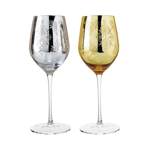luxury wine glasses luxury golden and silver carved wine glass in pair for wine cup for wedding