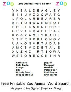 printable zoo animal word search list of movies for charades activity printables