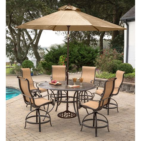 high top dining with 4 chairs hanover manor 7 piece high dining set with 6 contoured
