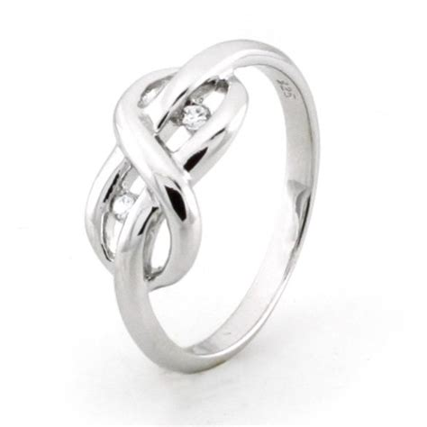 sterling silver infinity promise knot ring w cubic