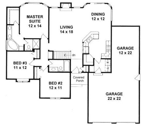 Garage Bays And Simple Floor Plans On Pinterest Sq Ft House Plans 3 Car Garage On Side With 1800 2000