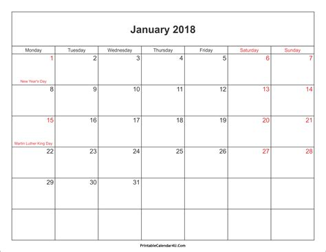 Calendar 2018 January Holidays January 2018 Calendar Printable With Holidays Pdf And Jpg