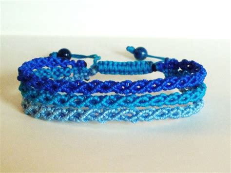 Macrame Knots Bracelets - 3 shades of blue wavy macrame knot friendship bracelet 163 4