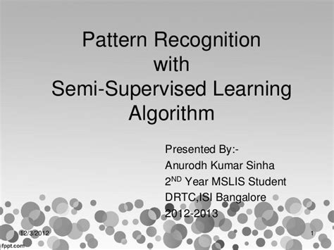 pattern recognition and machine learning algorithms seminar pattern recognition