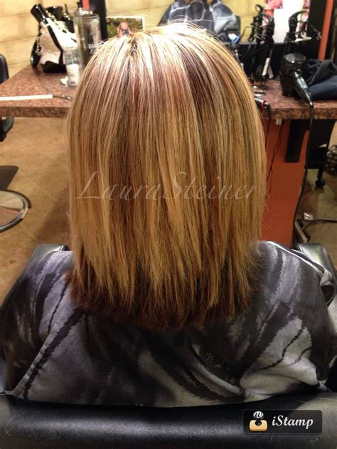 pictures of blended lowlights and highlights mid length haircut with blended layers highlights and
