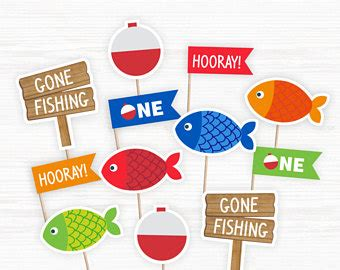 printable fish banner fishing party etsy