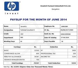 Appointment Letter With Salary Break Up Offer Letter Salary And Payslip Of Hewlett Packard