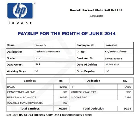 payslip template offer letter salary and payslip of hewlett packard