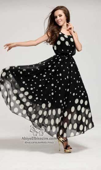 pin 2014 siyah beyaz elbise modelleri on pinterest uzun siyah beyaz puantiyeli şifon bayan elbise yazlık