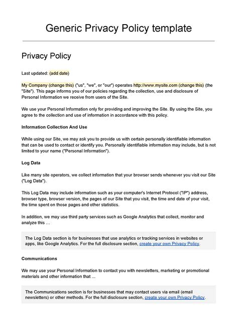 Privacy Policy Template Choice Image Professional Report 2018 Privacy Policy Template
