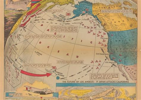 map of the united states and japan map imagining japanese attack of the west coast of the