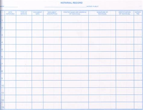free printable notary journal printable notary log book