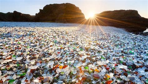 beach of glass beautiful places of world glass beach california usa
