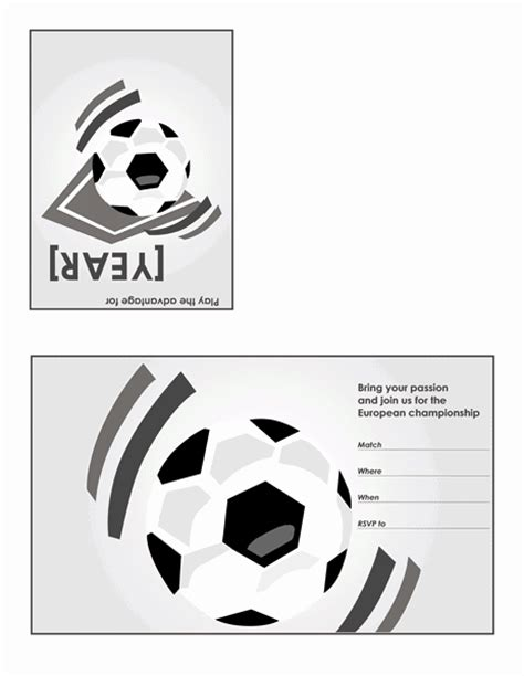 quarter fold card template word 2007 free printable invitations of soccer