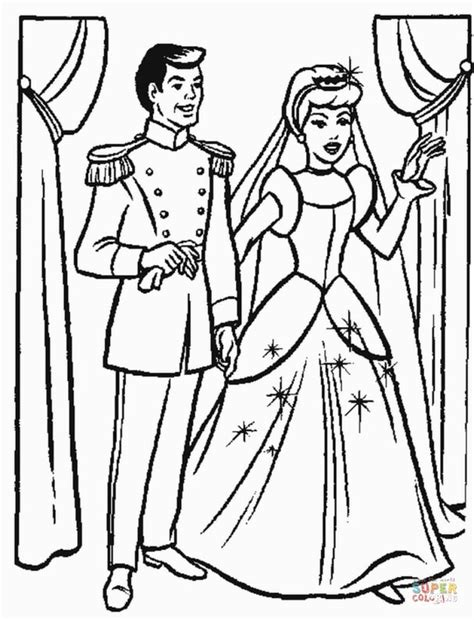 cinderella bride coloring pages cinderella s wedding party coloring page free printable