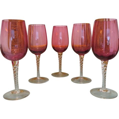 crystal wine glasses set of five bohemian cranberry and crystal wine glasses
