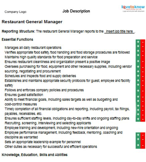 Restaurant Manager Description by Business Management Small Business Manager Description