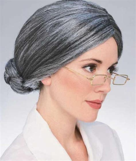 beth schneider granny old lady woman fancy dress details about old lady wig costume hair gray senior granny