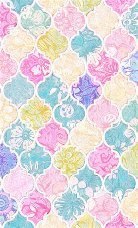 pastel pattern wallpaper soft bright pastel floral moroccan tiles fabric by micklyn