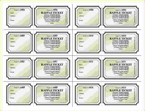 template for raffle tickets to print free printable raffle tickets template business