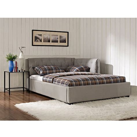 walmart upholstered bed lounge upholstered full bed stone walmart com
