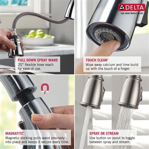 Kitchen Faucet Spray Head by Faucet Com 9178 Ar Dst In Arctic Stainless By Delta