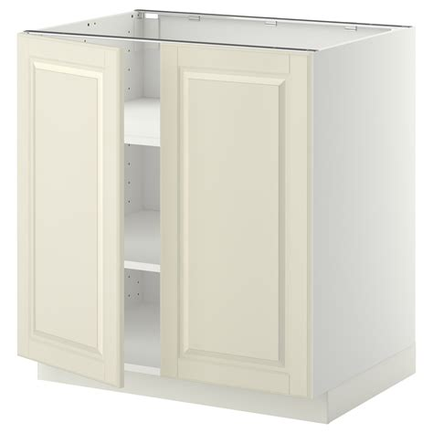 ikea off white kitchen cabinets metod base cabinet with shelves 2 doors white bodbyn off