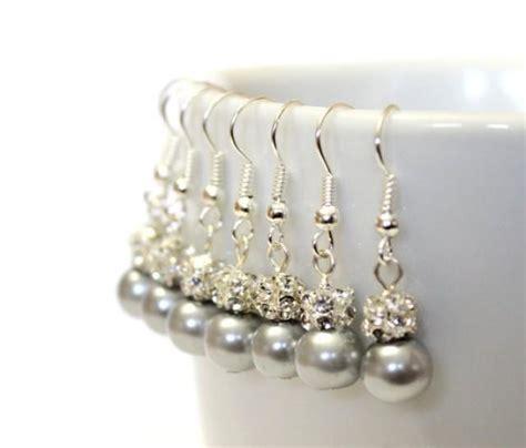 Pasta Gigi Pearl Drop 4 pairs grey pearls earrings set of 4 bridesmaid earrings pearl drop earrings swarovski pearl