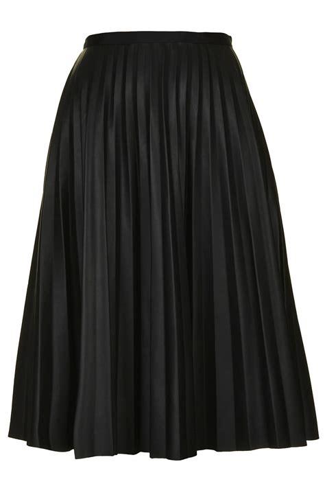 pu black pleated midi skirt