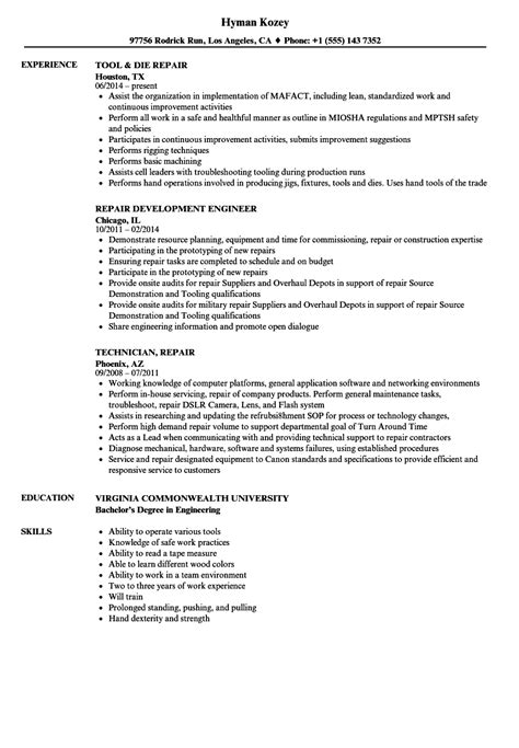 Certified Plant Engineer Sle Resume by Instrument Repair Sle Resume Certified Plant Engineer Sle Resume