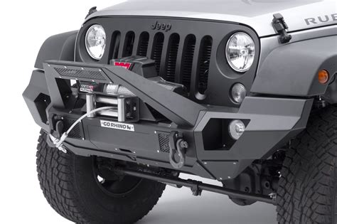 jeep light bar bumper go rhino 230120103t front bumper with full end caps and