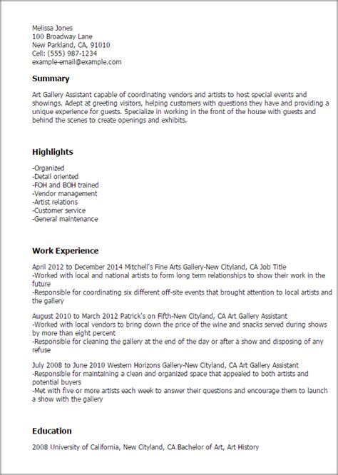 1 gallery assistant resume templates try them now