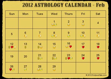 Feb 2012 Calendar 2012 Astrology Calendar For All Zodiac Signs And Horoscope